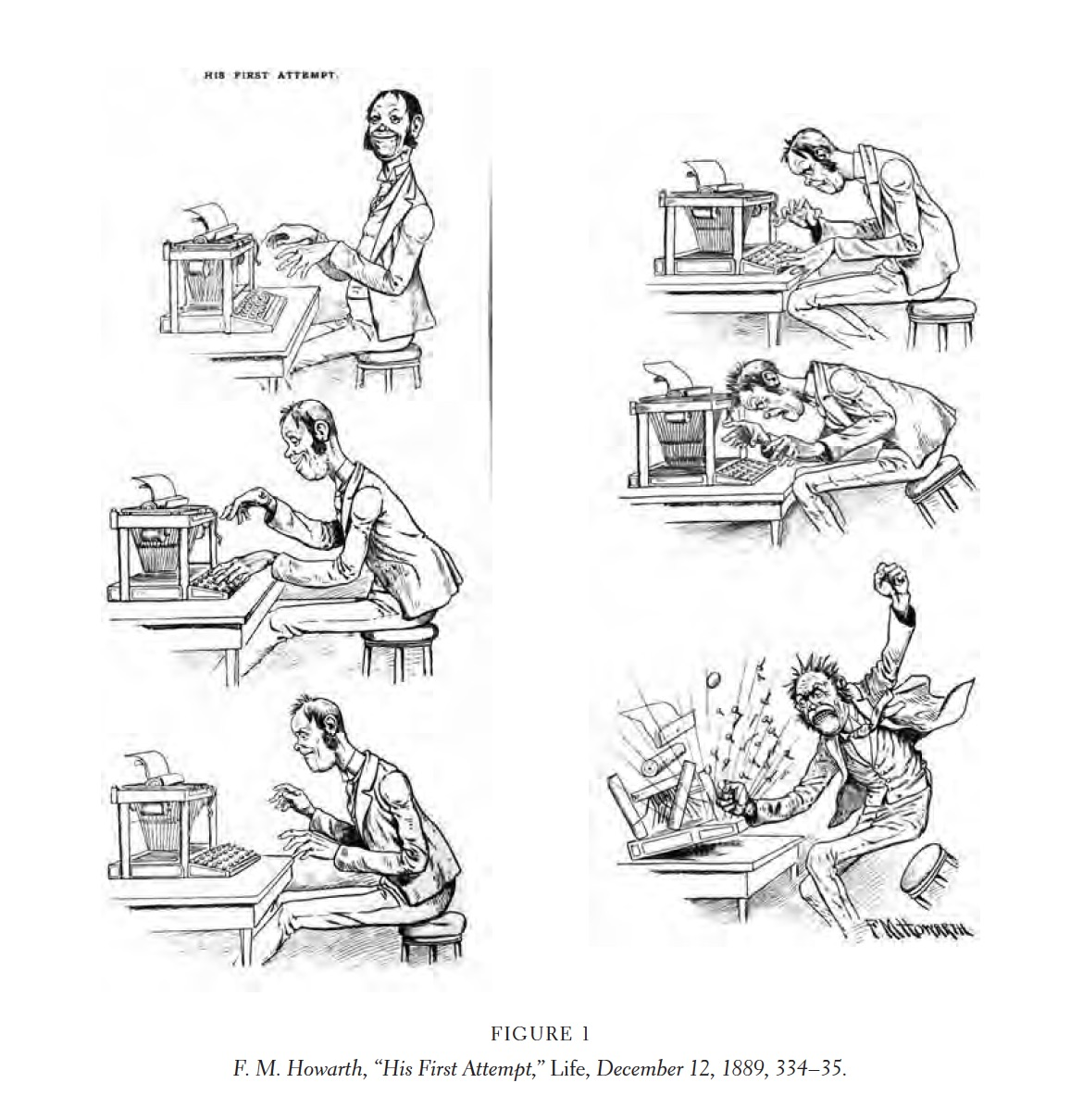 Figure 1, Six image serial comic depicting a writer's first attempt at a typewriter dispaying growing frustration as the images progress, ending with the final panel showing the writer losing his temper and pounding the keys. His First Attempt comic. F.M. Howarth, Life Magazine, December 12th, 1889, 334-35